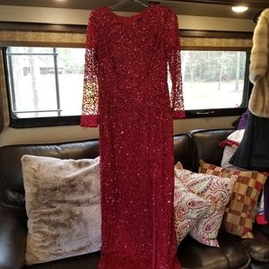 Beautiful maroon long dress with sequins